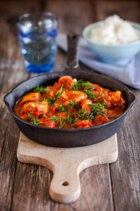 Stewed chicken in tomatoes - homemade food